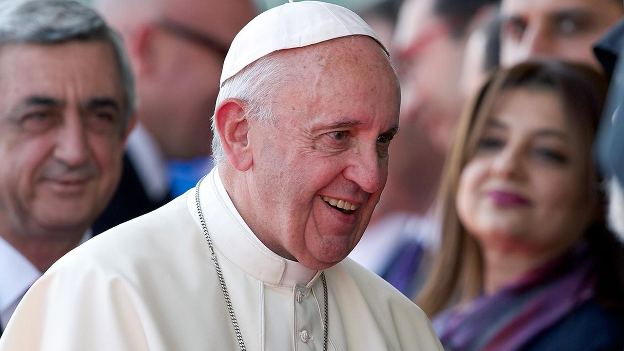 Pope Francis smiles during welcoming ceremony at Zvaretnots airport at Yereven, Armenia, Friday, June 24, 2016.