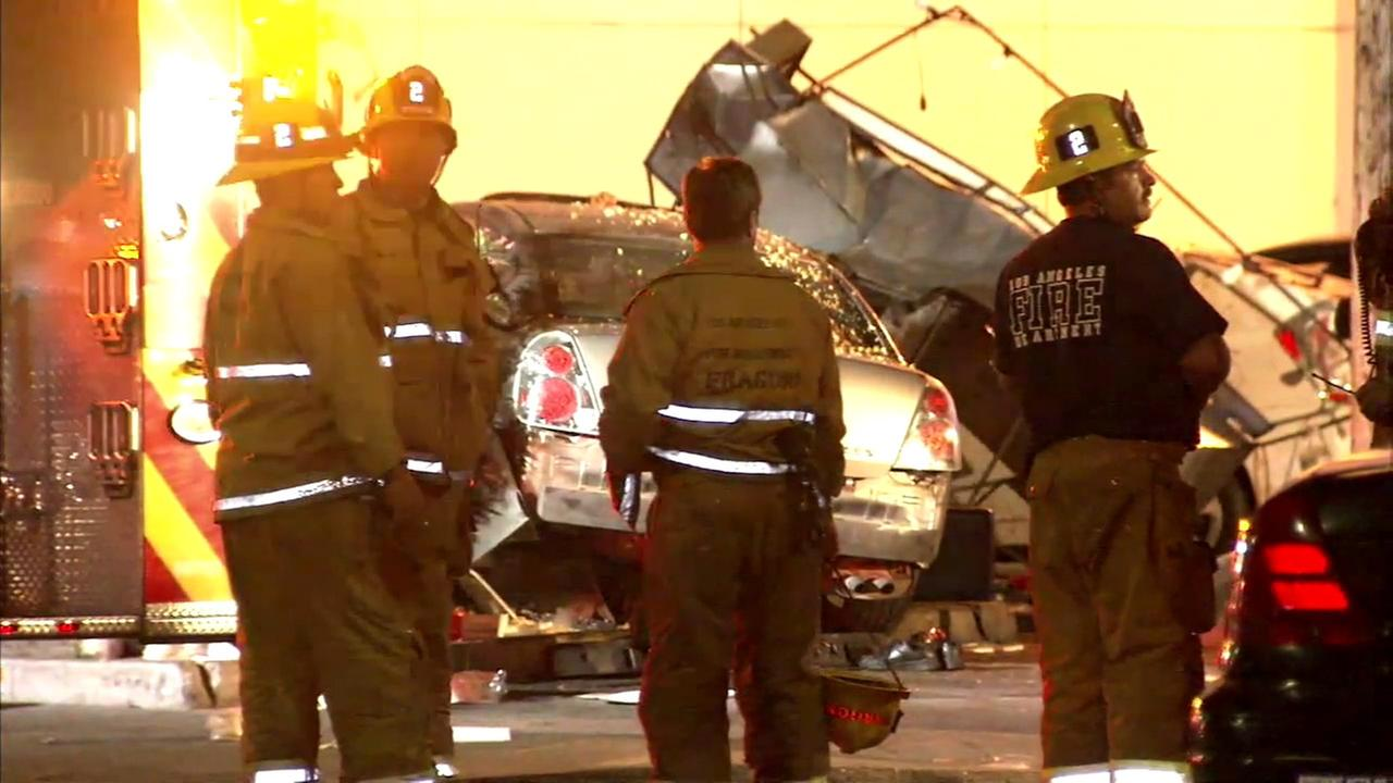 Officials said one person was killed and several others injured when a car crashed into a taco stand in Boyle Heights on Sunday, June 26, 2016.