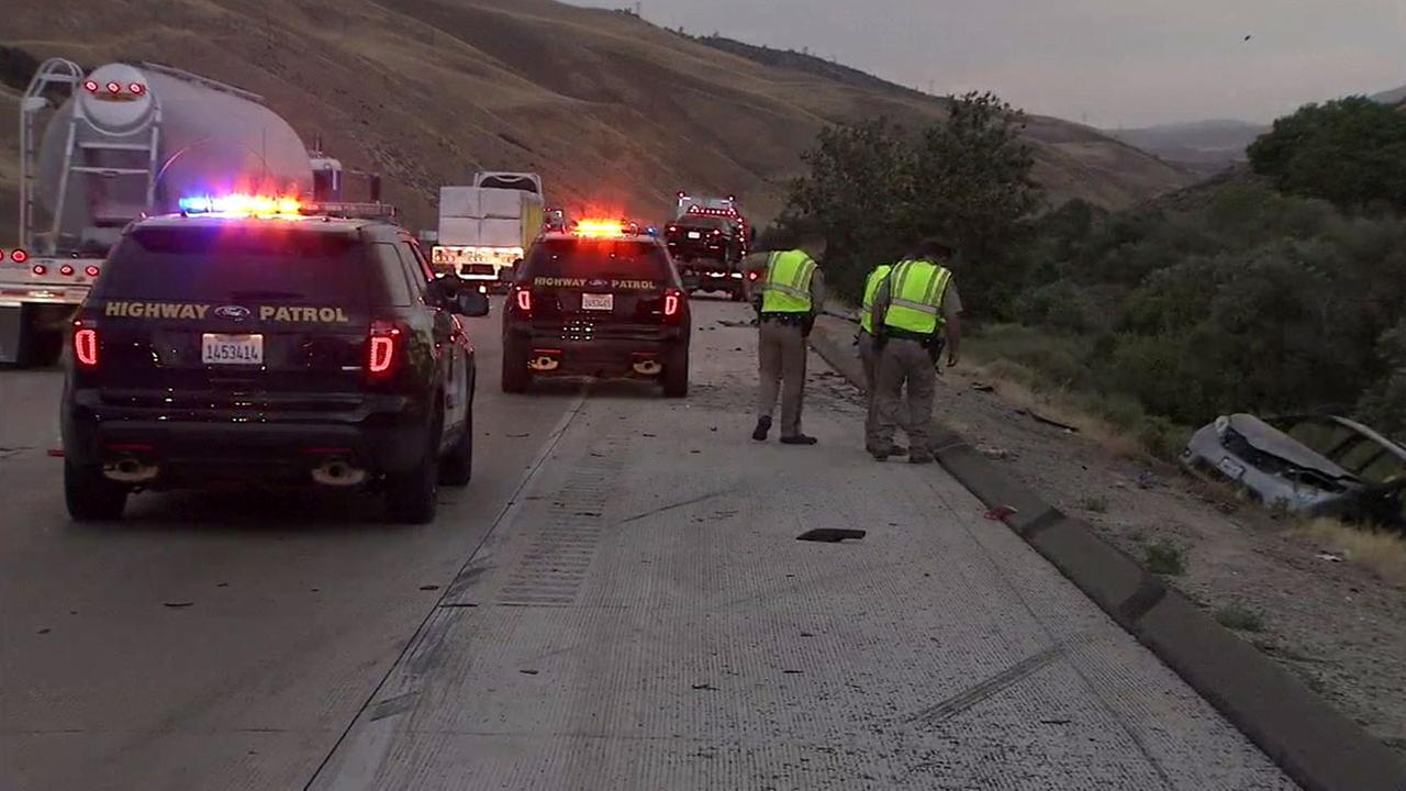 Authorities cleared out the scene of a fatal car crash on the southbound 5 Freeway in Gorman on Tuesday, June 28, 2016.