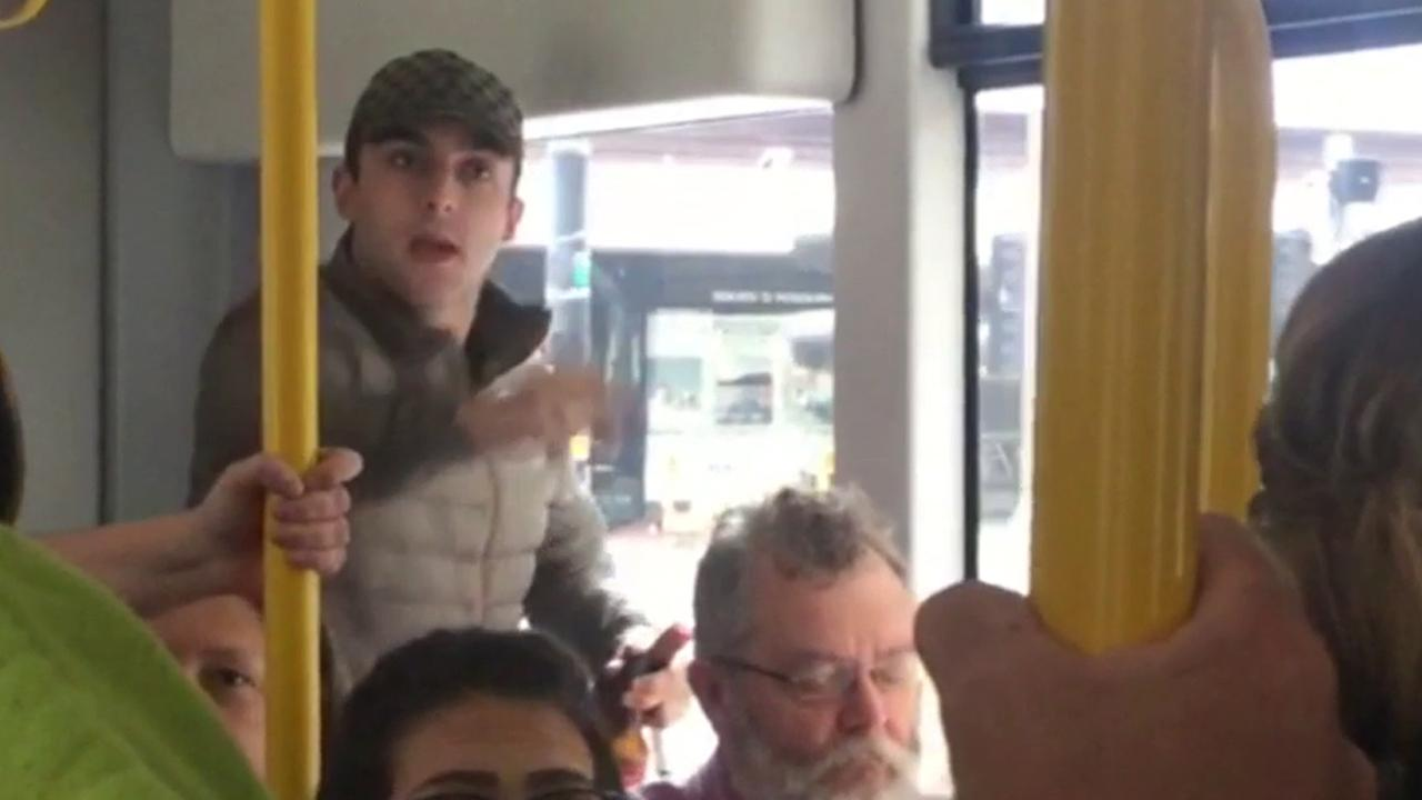 Three men were arrested in Manchester, England, after a racist tirade on a tram was caught on camera on Tuesday, June 28, 2016, according to Manchester police.