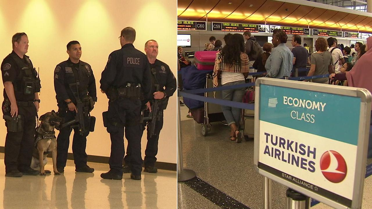 An increased police presence at the Los Angeles International Airport comes after suicide bombers attacked an Istanbul airport.