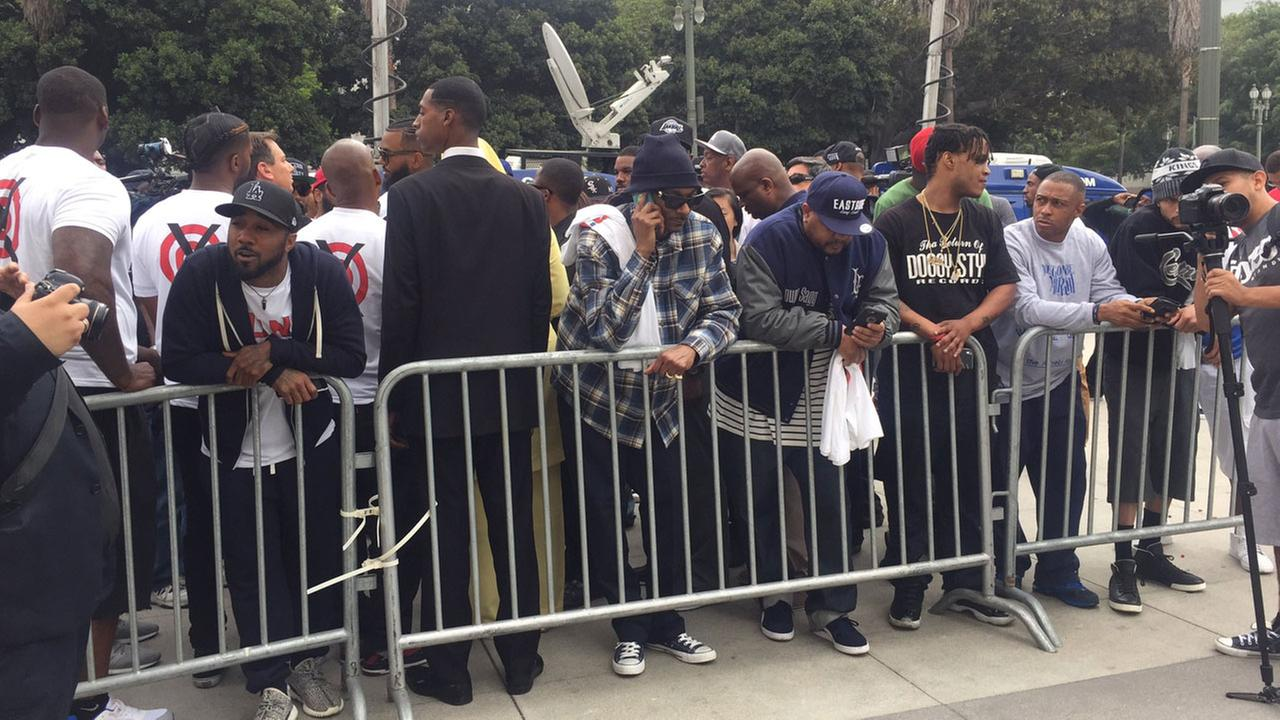 Snoop Dogg and a group of demonstrators gathered outside the Los Angeles police headquarters on Friday, July 8, 2016.