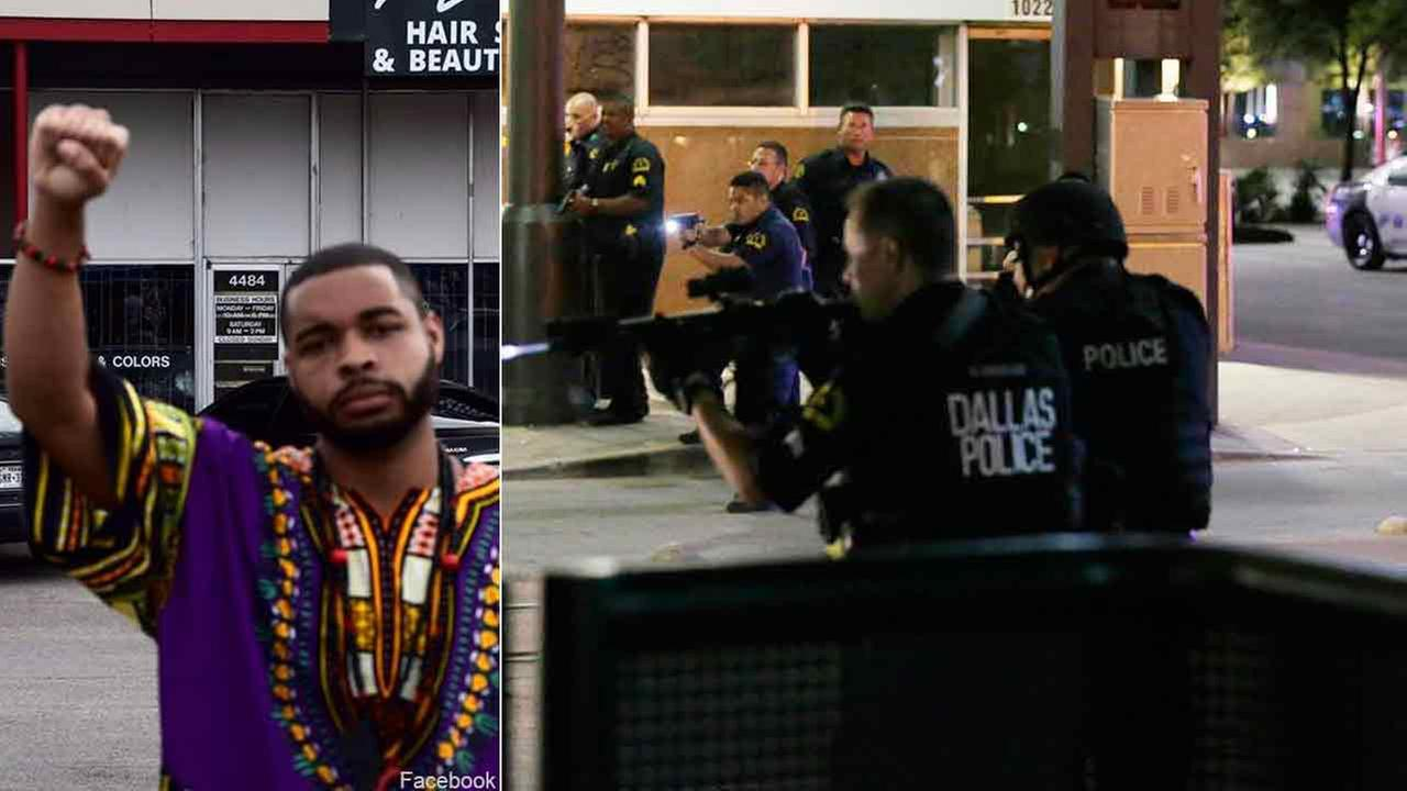 (Left) Micah Xavier Johnson is seen in this Facebook photo. (Right) Dallas police move to detain a driver after officers were shot in downtown Dallas, Thursday, July 7, 2016.