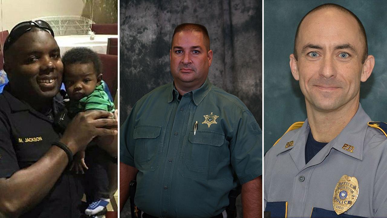 Montrell Jackson (left), Brad Garafola (center) and Matthew Gerald (right) were shot and killed in Baton Rouge, Louisiana, on Sunday, July 17, 2016.
