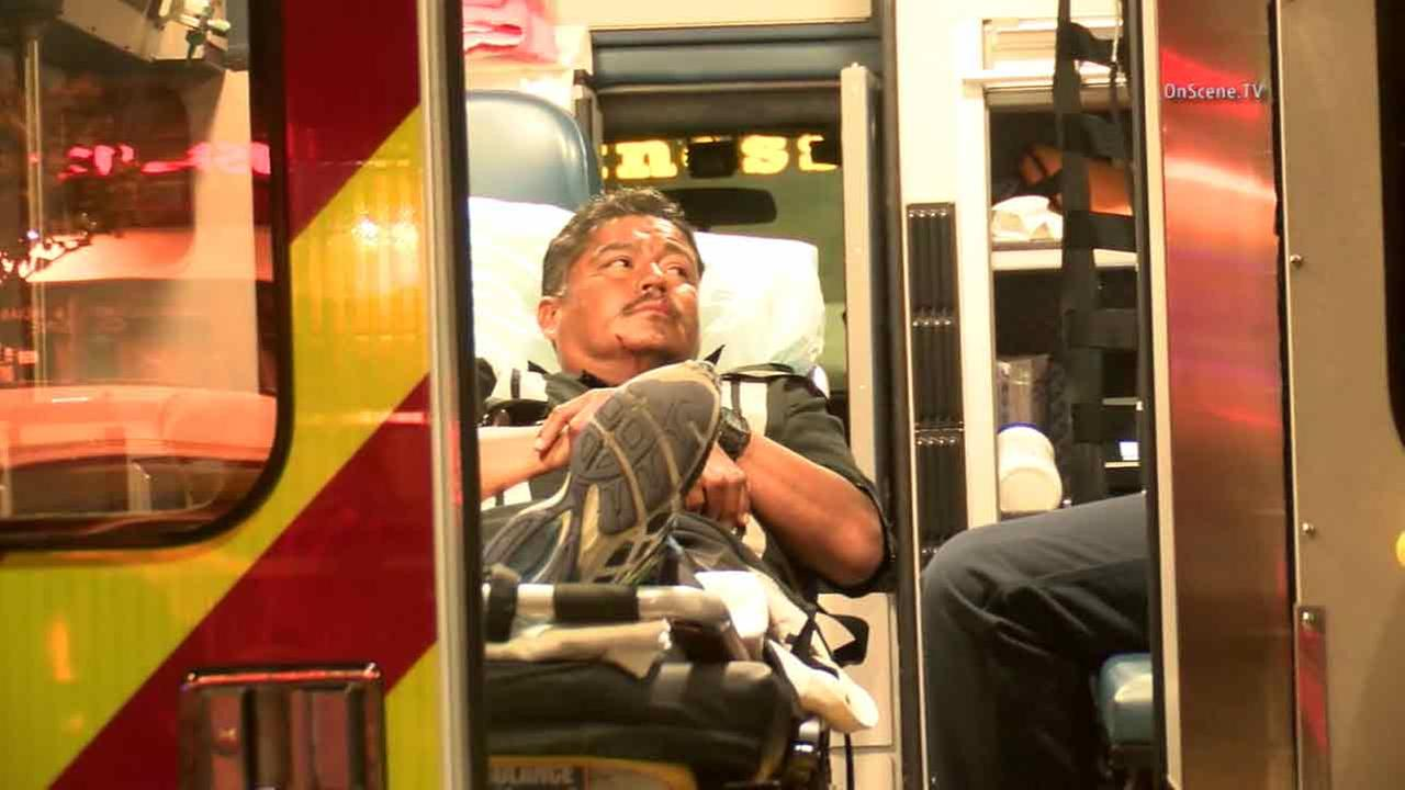 A homeless man is seen injured after being shot by a suspect with a pellet gun in Buena Park Sunday, July 17, 2016.