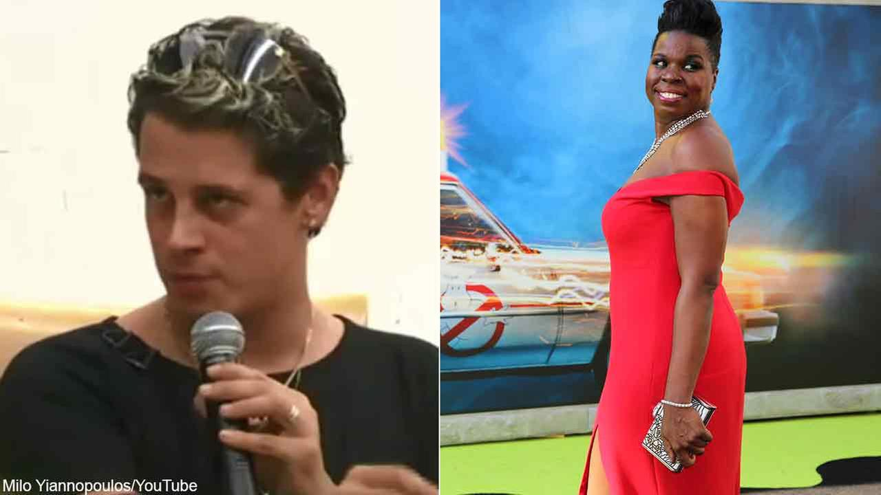 Milo Yiannopoulos, left, is seen in a still image from his YouTube channel. Actress Leslie Jones is seen at the Los Angeles premiere of Ghostbusters.