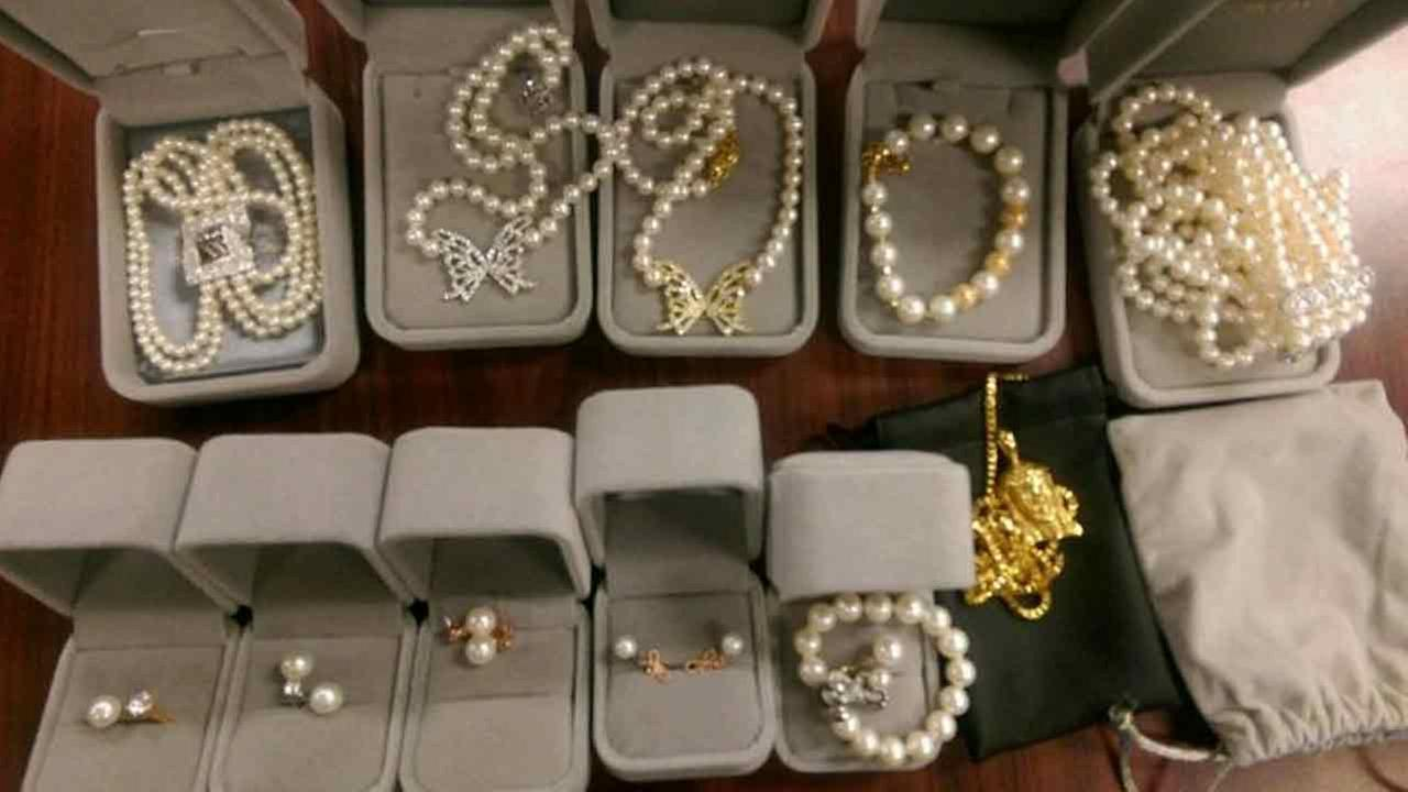 Multiple pieces of stolen jewelry were found during an unrelated arrest by Los Angeles County Sheriffs Department.