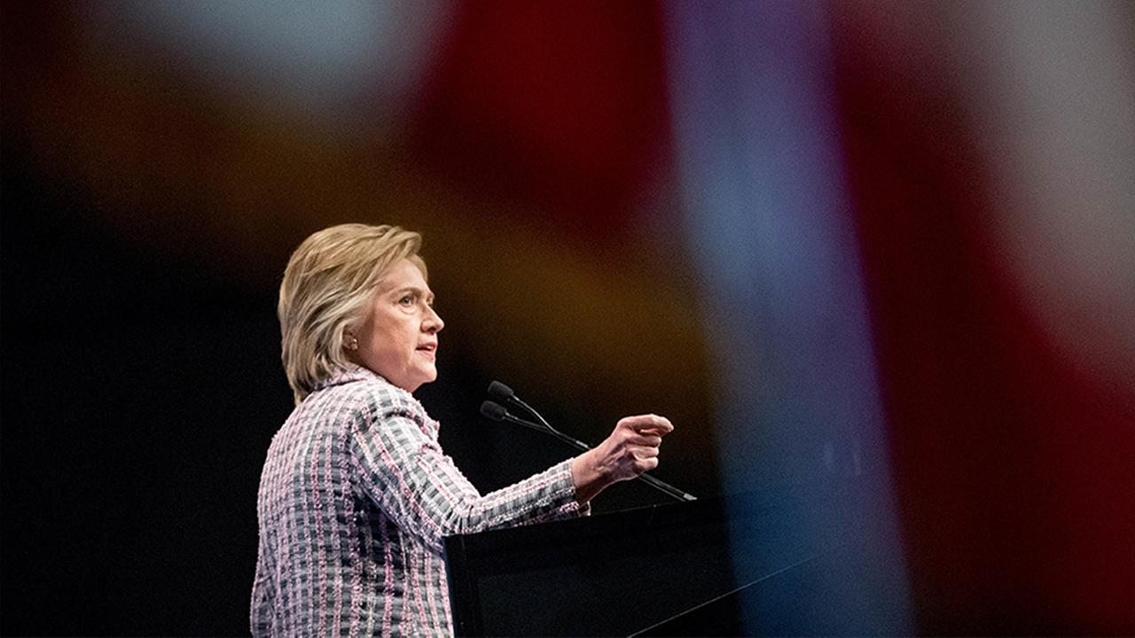 Hillary Clinton, the Democratic presidential nominee, speaks at the 117th National Convention of Veterans of Foreign Wars at the Charlotte Convention Center in Charlotte.