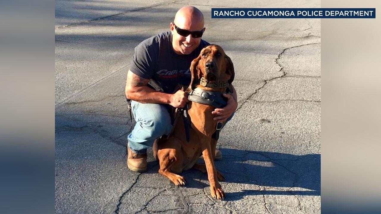 Deputy Josh Stone and K-9 Deja are seen in this photo posted to Facebook by the Rancho Cucamonga Police Department.