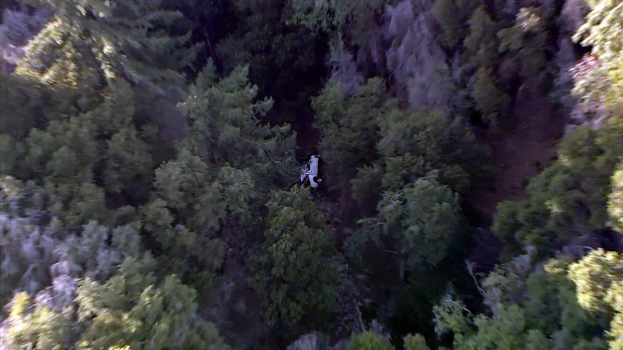 A truck that crashed over a cliff was discovered in the Angeles National Forest amid the search for three Fontana teenagers on Monday, Aug. 1, 2016.