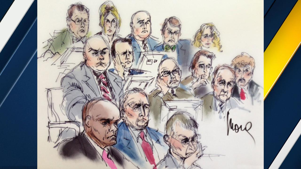 Six of the seven Los Angeles County sheriffs officials are shown above in a court sketch.
