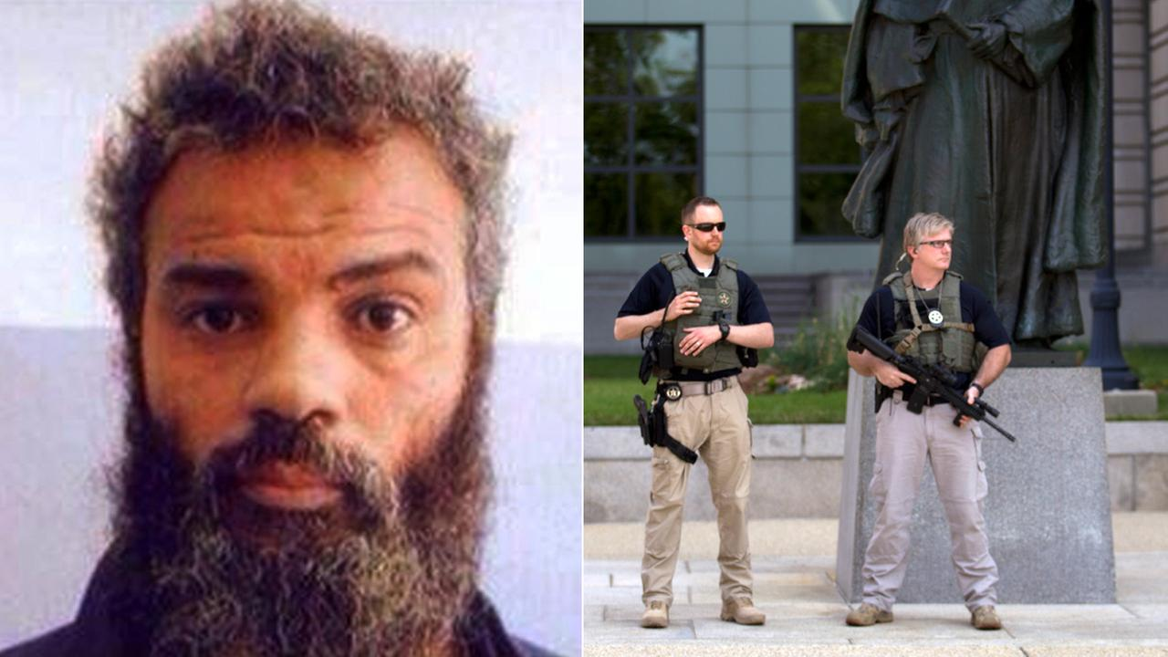 Left: Ahmed Abu Khattala is seen in an undated image. Right: U.S. Marshalls monitor the area near federal court in Washington on Saturday, June 28, 2014.