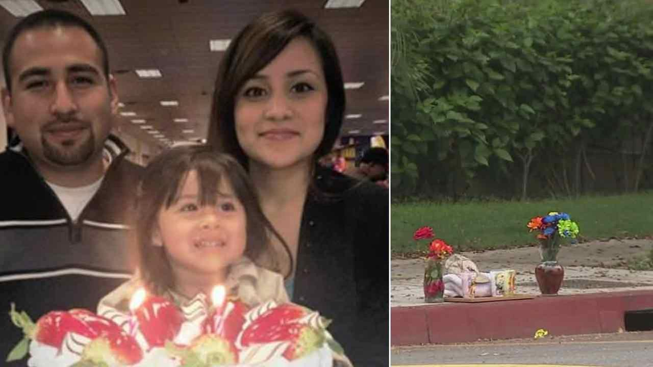 Carina Mancera, 26, is pictured with her husband and daughter, 4-year-old Jennabel Anaya (left). On the right is the scene of a shooting that killed Mancera and her daughter.