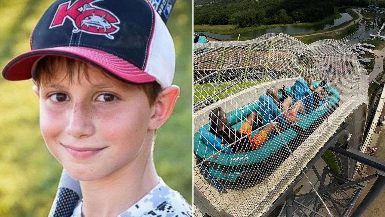 A file photo shows riders on worlds tallest water slide in Kansas City, Kansas. Caleb Thomas Schwab, left, is seen in a photo provided by family members.
