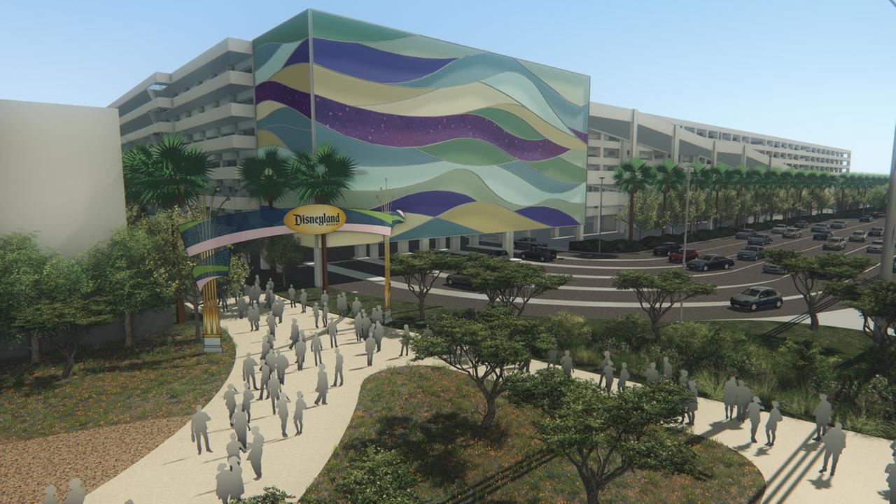 A rendering of the proposed new parking structure at Disneyland is shown.