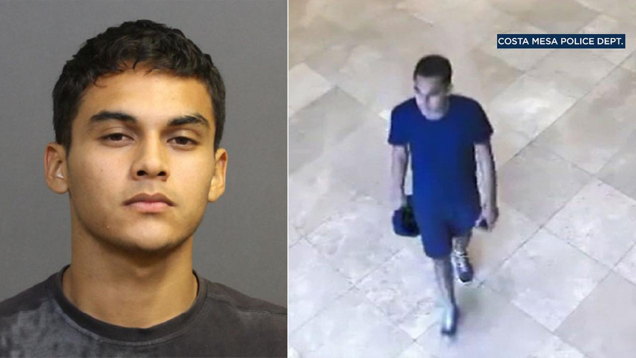 Eduardo Vidal Avalos, 20, of Orange, was arrested after he identified himself in surveillance video of a sexual-assault suspect at the South Coast Plaza, police said.