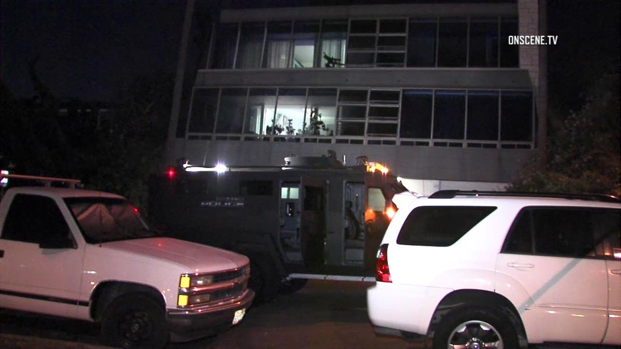Police responded to an apartment in Torrance on Sunday, Aug. 14, 2016, where an apparent murder-suicide left two people dead.