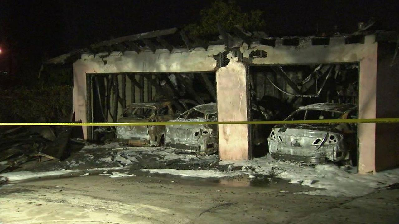 Multiple cars were damaged in a series of possibly-related carport and garage fires in Rosemead on Tuesday, Aug. 16, 2016.