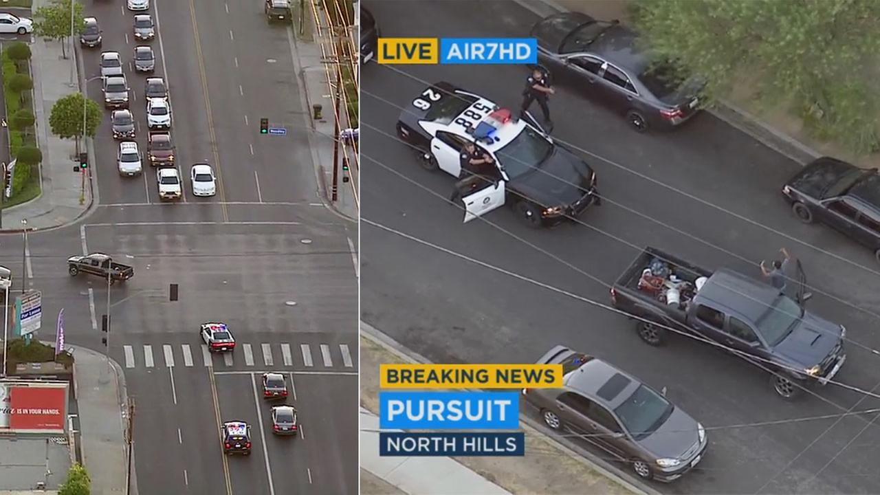 LAPD officers chased a possible DUI suspect in the San Fernando Valley through red lights before he surrendered in North Hills.