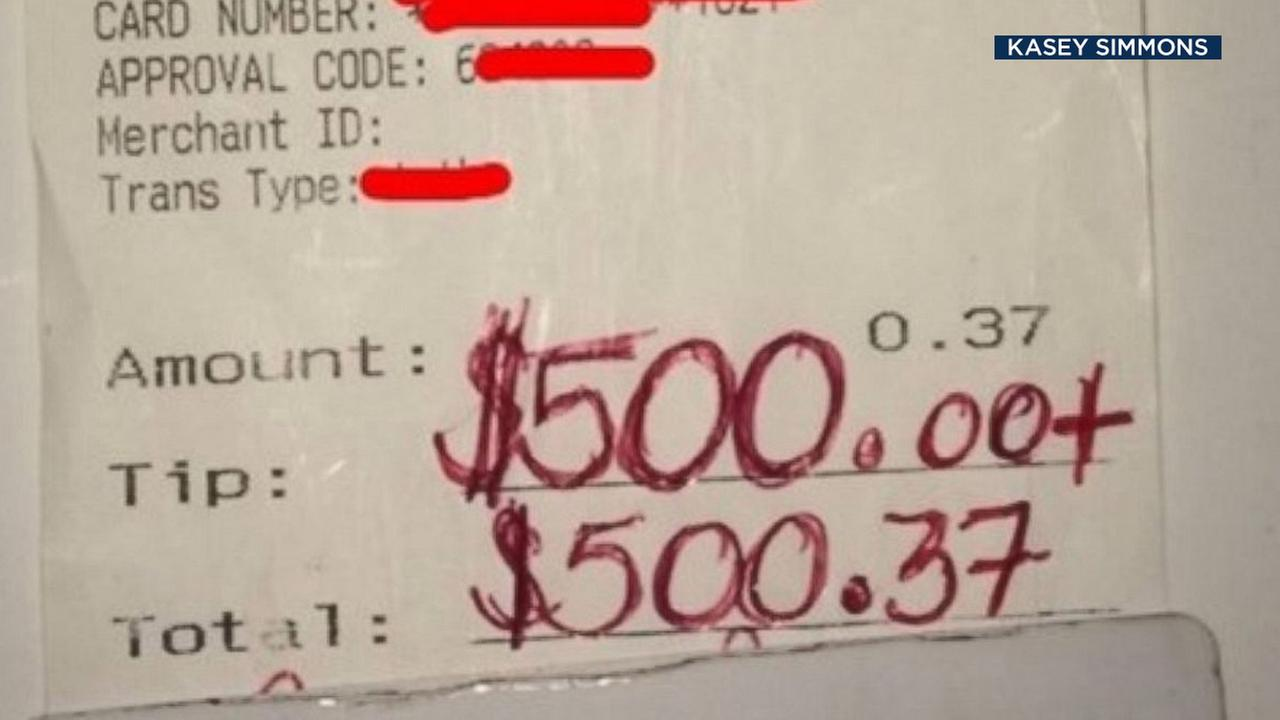 A receipt shows a $500 tip given to Texas Applebees waiter, Kasey Simmons.