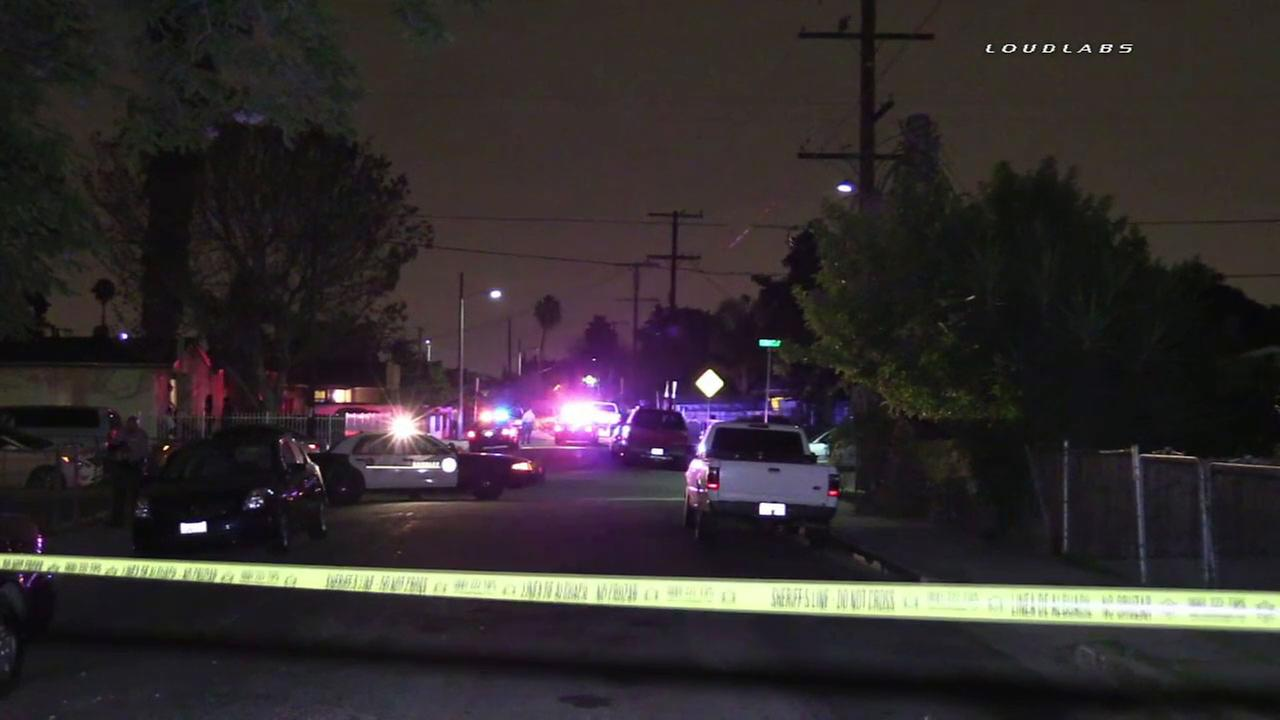 Authorities blocked off a street in Compton after a suspect was killed in a deputy-involved shooting on Thursday, Aug. 25, 2016.