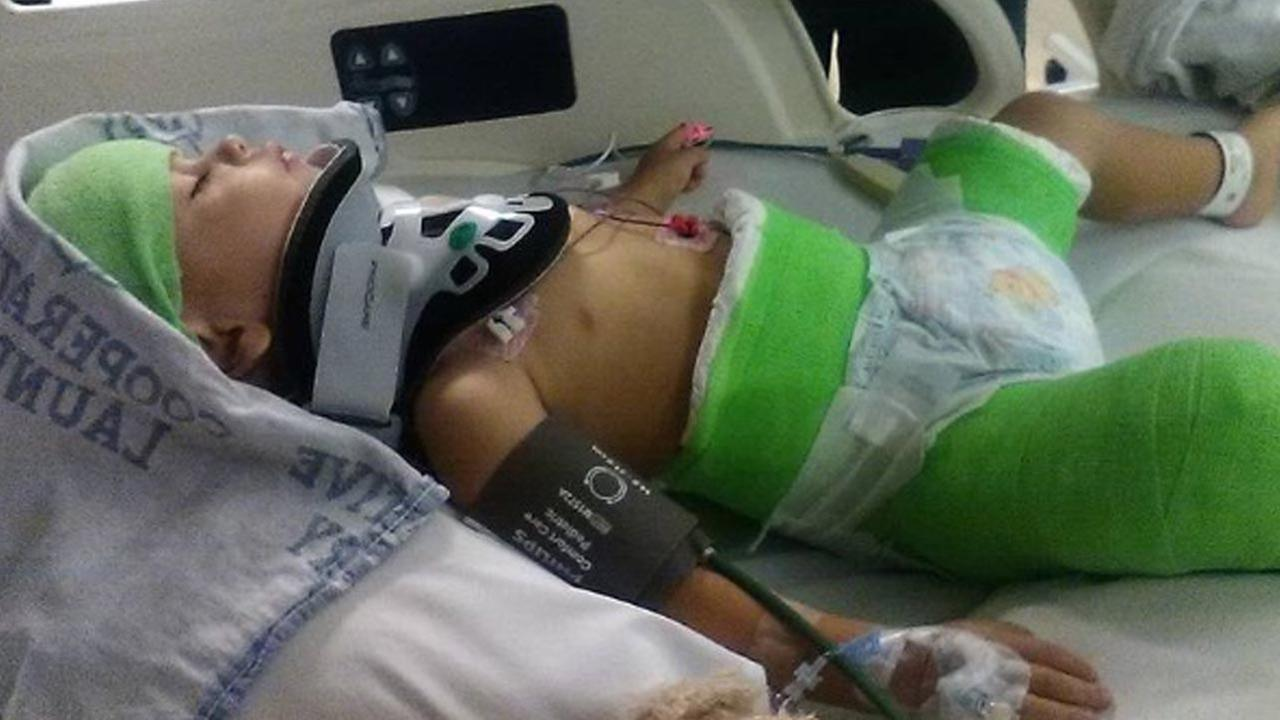 Two-year-old Isaiah suffered a concussion and broken leg when his father tried to kill him in a deliberate car crash in Colorado, on Sunday, Aug. 21, 2016, authorities said.