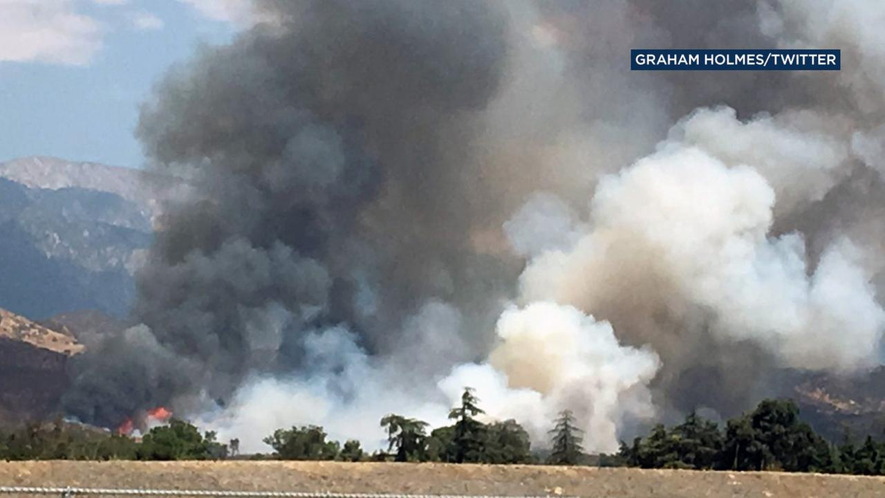 Crews were battling a brush fire in Cherry Valley near Beaumont on Tuesday, Aug. 30, 2016.