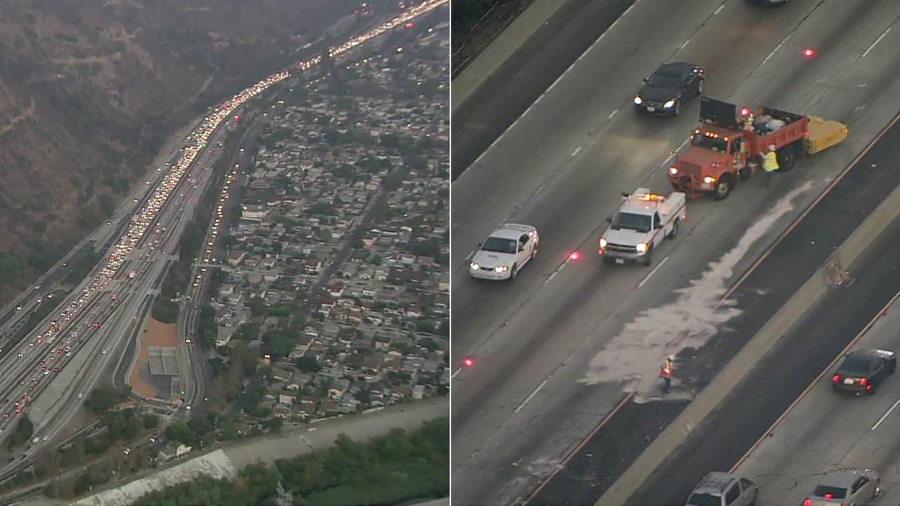 A crash blocked multiple lanes on the southbound 5 Freeway in Elysian Park, snarling the morning commute on Thursday, Sept. 8, 2016.