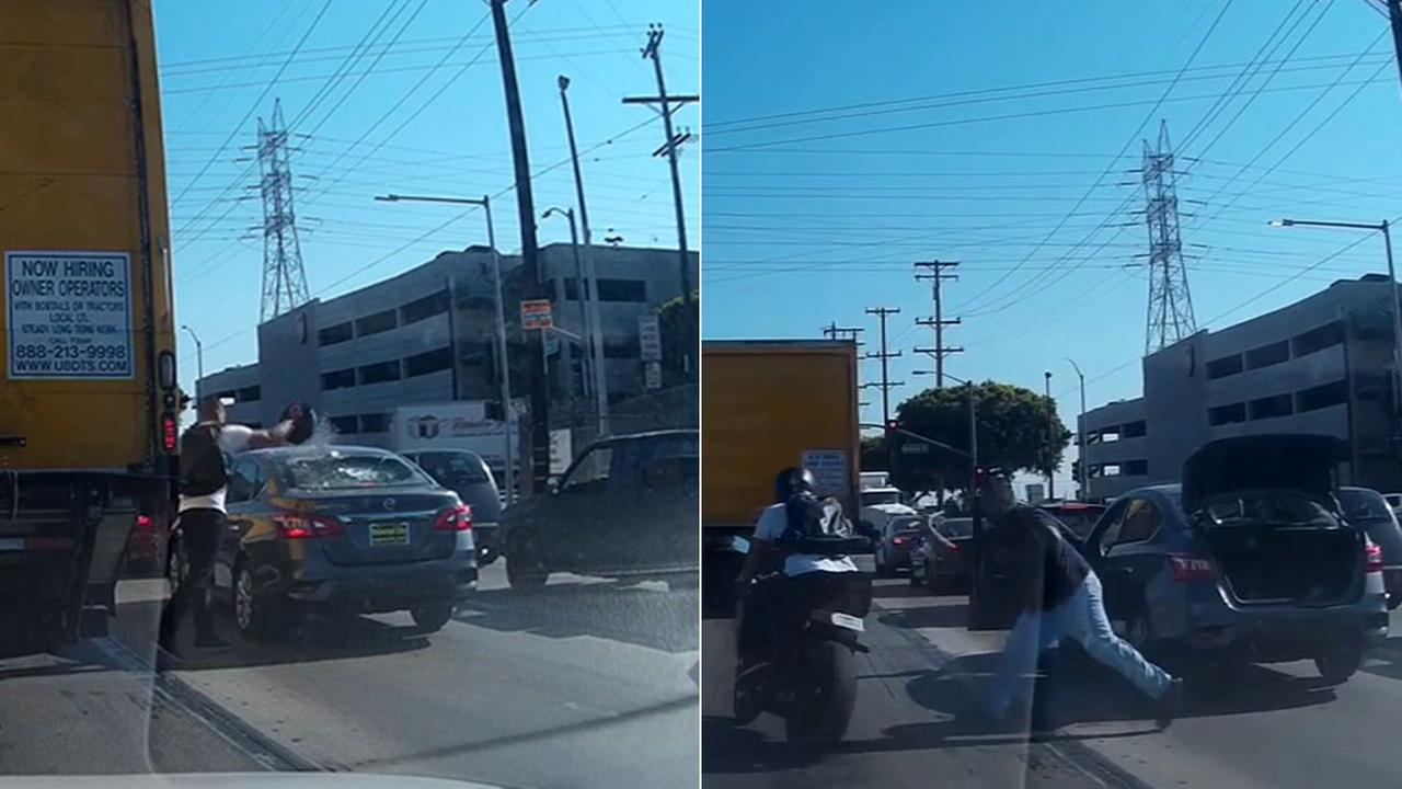 Dash cam footage shows a motorcyclist smashing the rear window of a Nissan Sentra and the driver then swinging at the cyclist with a hammer in Vernon on Tuesday, Sept. 6, 2016.