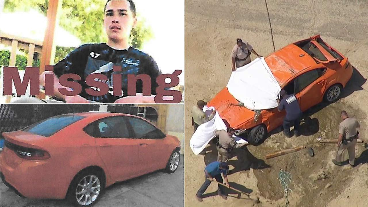 (Left) Gustavo Santana, 18, is seen in a missing person poster. (Right) Sheriffs officials pull a car out of the California Aqueduct on Friday, Sept. 9, 2016.