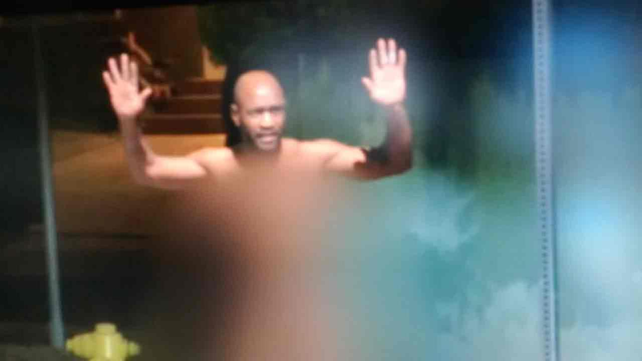 A naked prowler in Venice throws his hands up after being caught breaking into homes on Friday, Sept. 16, 2016.