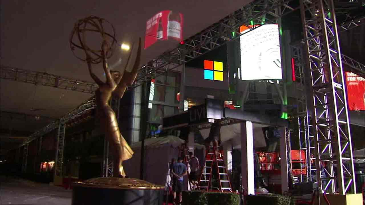 An undated file photo of crews setting up for the Emmy Awards.