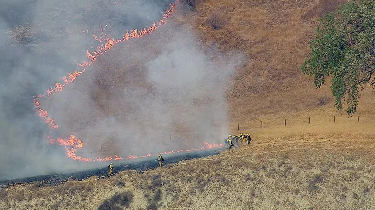 Firefighters worked to put out a small brush fire along the shoulder of the northbound 5 Freeway in Newhall on Tuesday, Sept. 20, 2016.