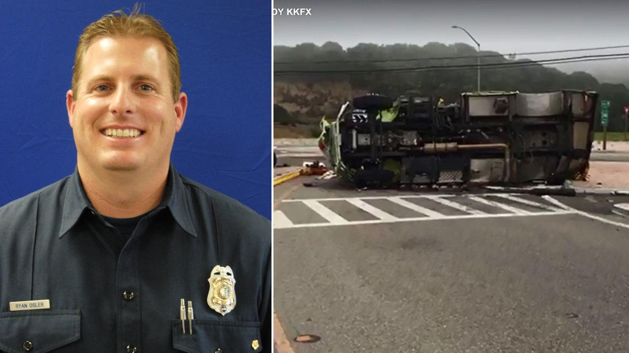 Ventura County Fire Engineer Ryan Osler is shown in a photo alongside images from the scene where a truck overturned, killing him on Wednesday, Sept. 21, 2016.