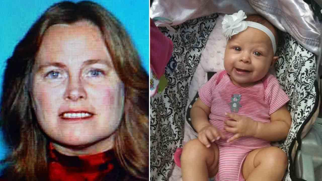 Carolyn Ferguson, 57, (left) allegedly abducted her 6-month-old granddaughter, Laylani Mosely, (right) on Wednesday, June 2, 2014.