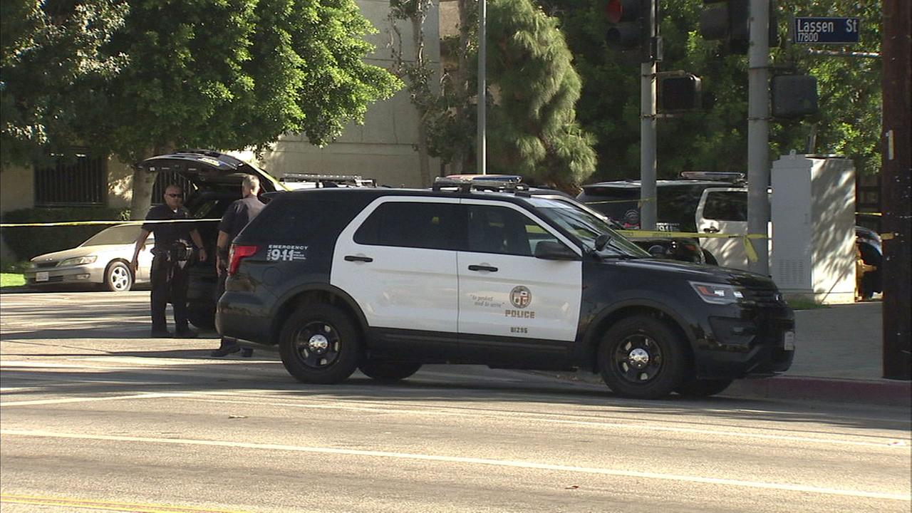 Los Angeles Police Department officers responded after two people were shot and wounded in Northridge on Sunday, Sept. 25, 2016.