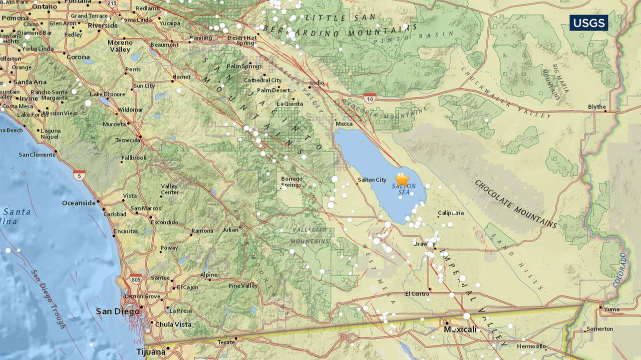 An earthquake with a preliminary magnitude of 4.3 struck approximately 14 miles east of Salton City in Imperial County on Monday, according to the U.S. Geological Survey.