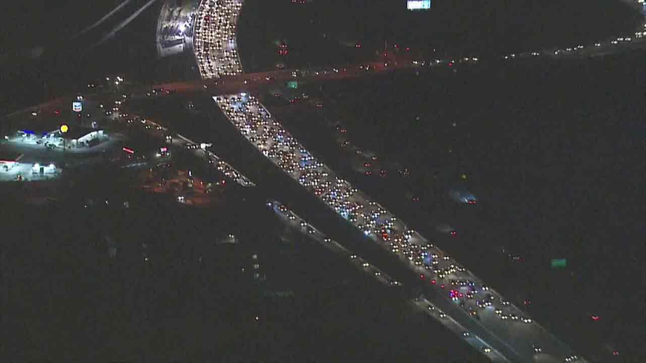 Traffic is seen backed up for miles on the 91 West in Anaheim after a crash involving a big rig on Wednesday, Sept. 28, 2016.