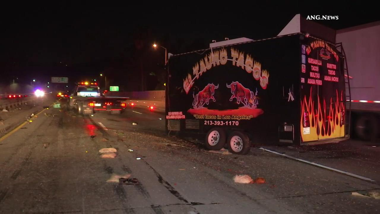 A truck hauling a mobile taco stand crashed on the 101 Freeway in Hollywood on Monday, Oct. 3, 2016.