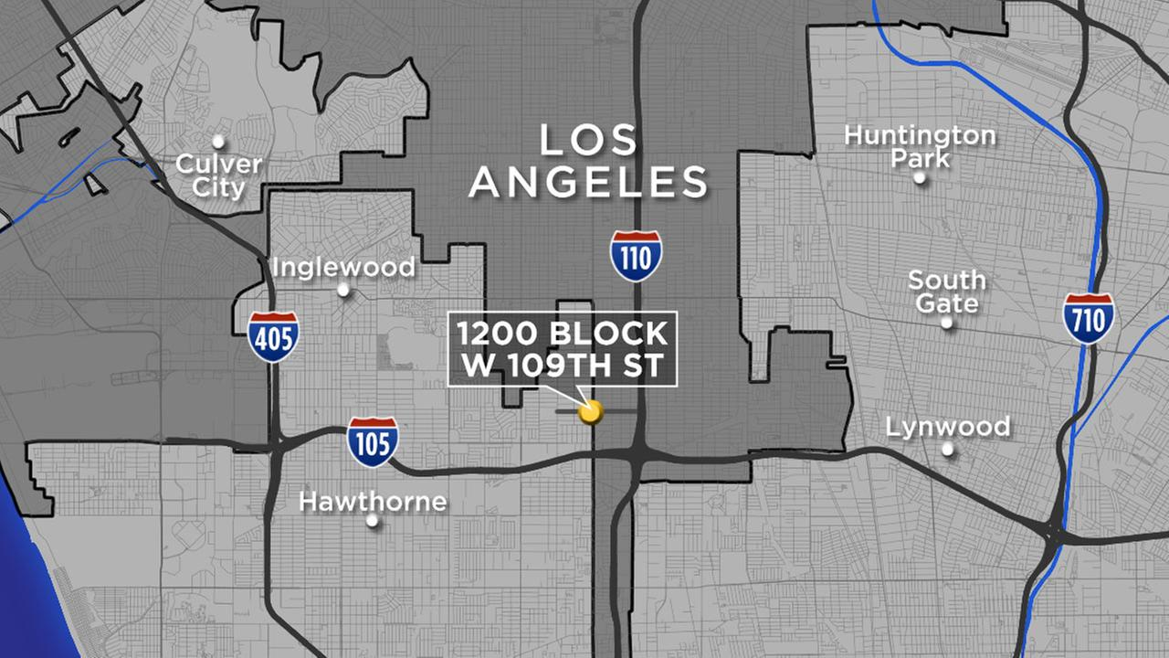 A map shows the location of a fatal shooting in the 1200 block of West 109th Street in the Westmont area of South Los Angeles on Thursday, Oct. 6, 2016.