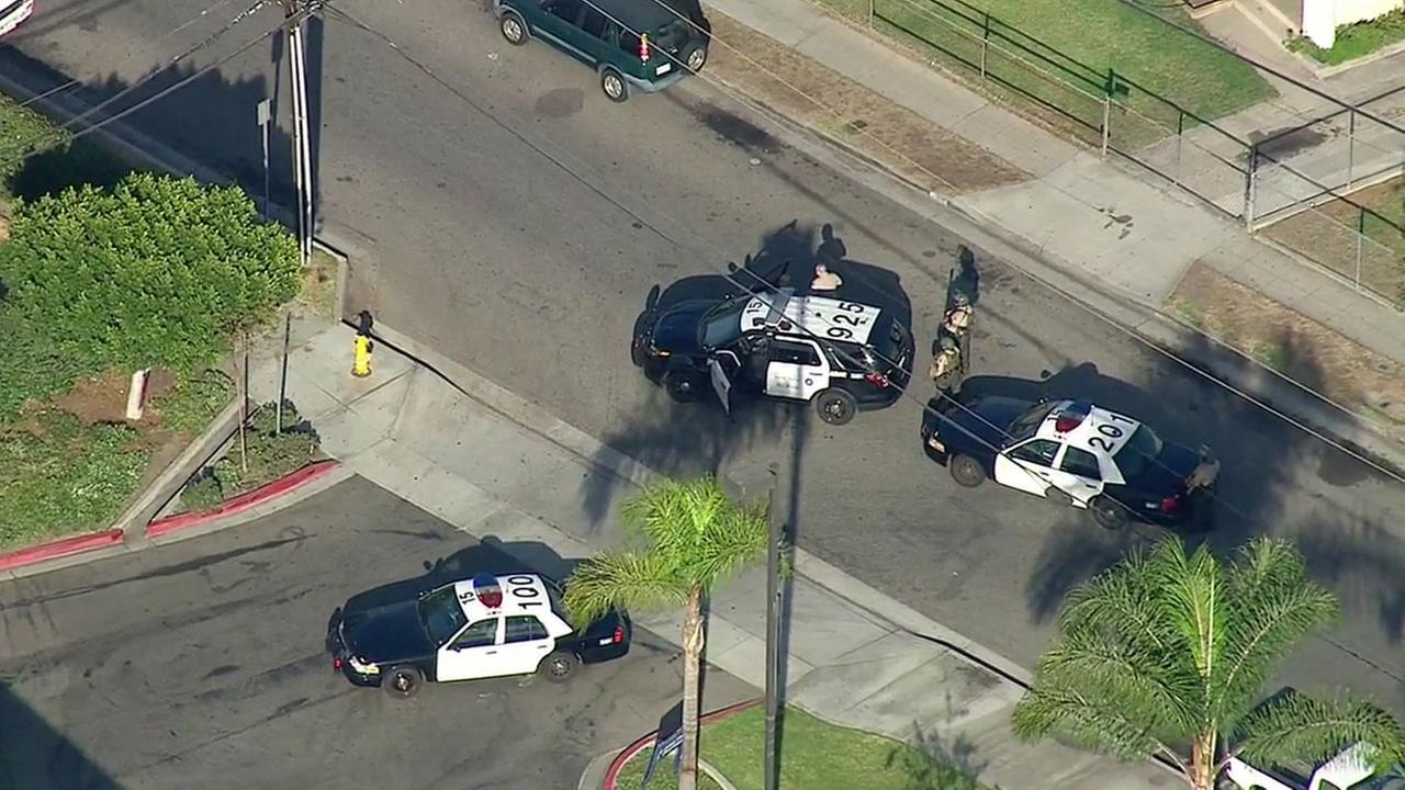 Authorities cordoned off an area in the 4300 block of Passons Boulevard in Pico Rivera to search for an active shooter on Friday, Oct. 7, 2016.