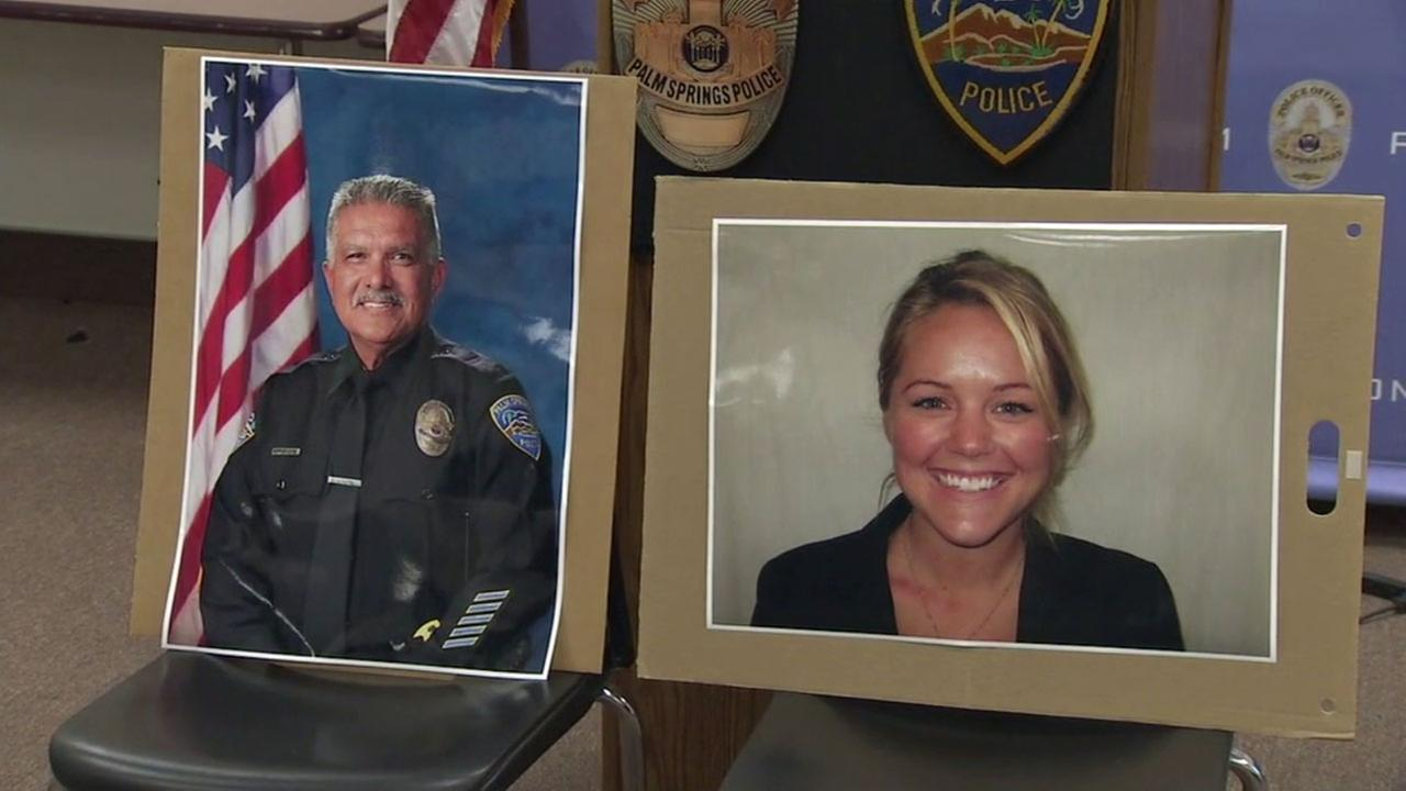 Palm Springs officers Jose Gilbert Vega, 63, and Lesley Zerebny, 27, are shown in photos during a press conference on Saturday, Oct. 8, 2016.