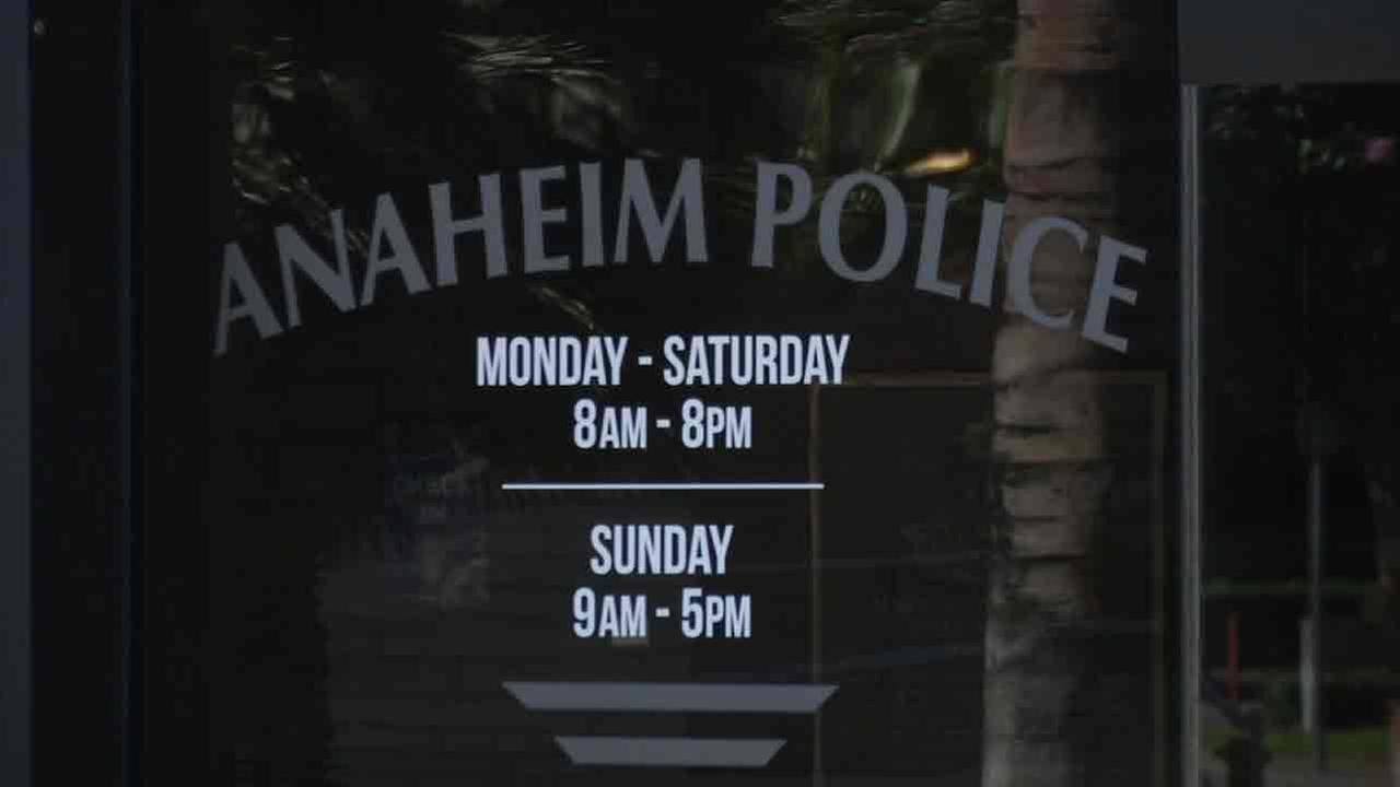 An entrance to the Anaheim Police Department.