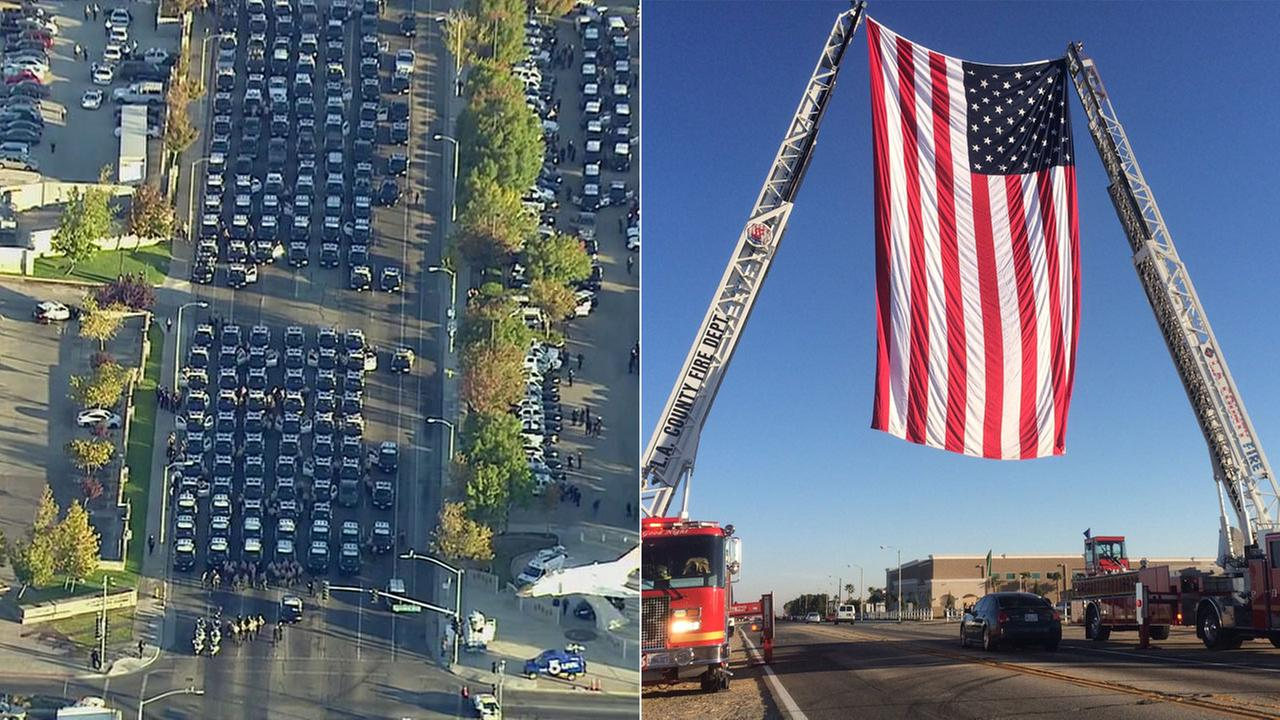 Law enforcement vehicles are seen lined up for a procession leading to memorial service in Lancaster for Sgt. Steve Owen, who was killed in the line of duty.
