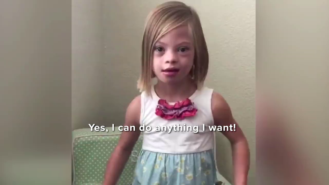 Young Sofia, who has Down syndrome, is seen in a video posted by her mother.