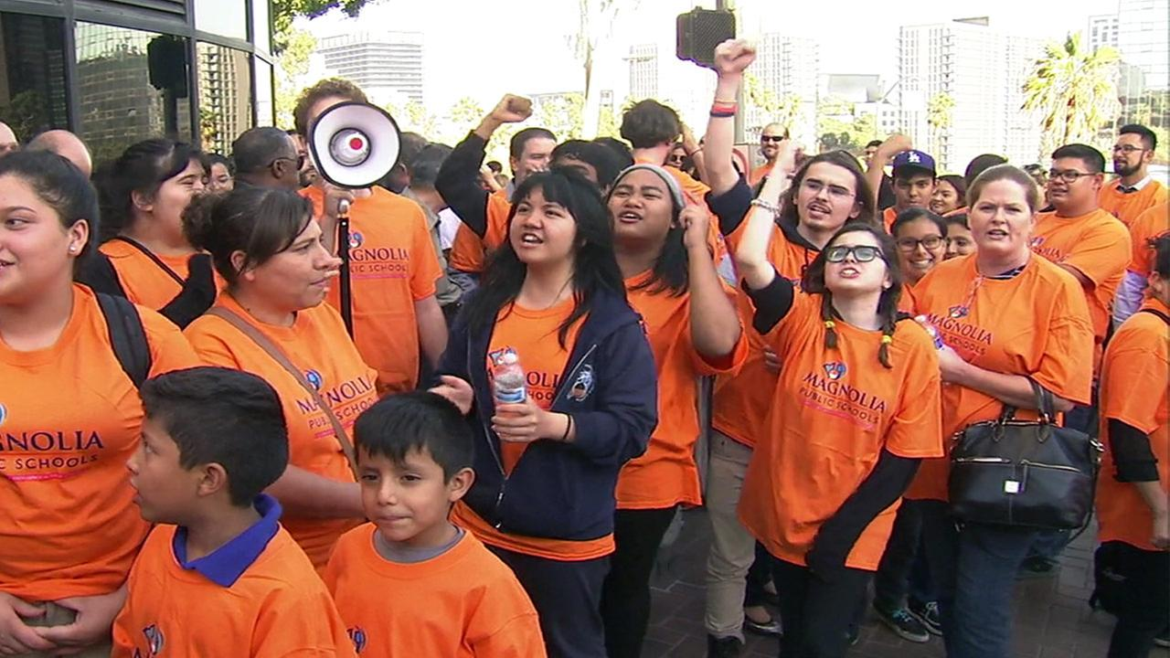 Parents, students and staff gather in downtown Los Angeles as the Los Angeles Unified School District votes to deny renewals of five charter schools on Tuesday, Oct. 19, 2016.