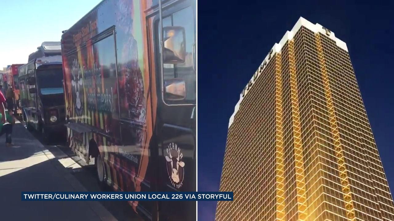 Food trucks created a wall around the Trump Hotel in Las Vegas ahead of the final presidential debate on Wednesday, Oct. 19, 2016.