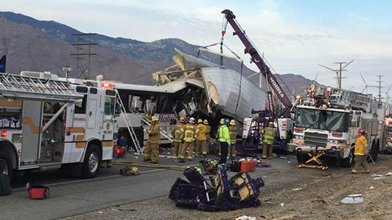 A fatal crash involving a tour bus and a semi-truck prompted a partial closure of the 10 Freeway north of Palm Springs on Sunday, Oct. 23, 2016.