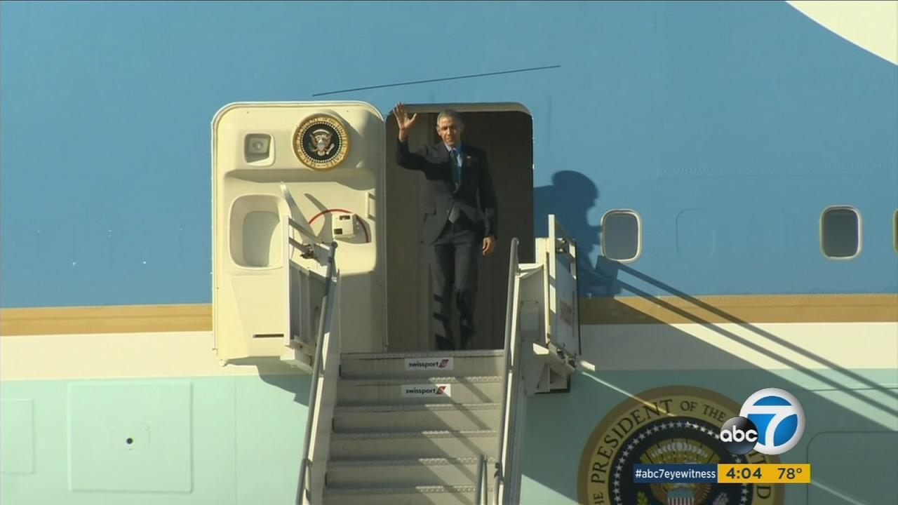President Barack Obama, pictured stepping off Air Force One in his February 2016 visit to Los Angeles.