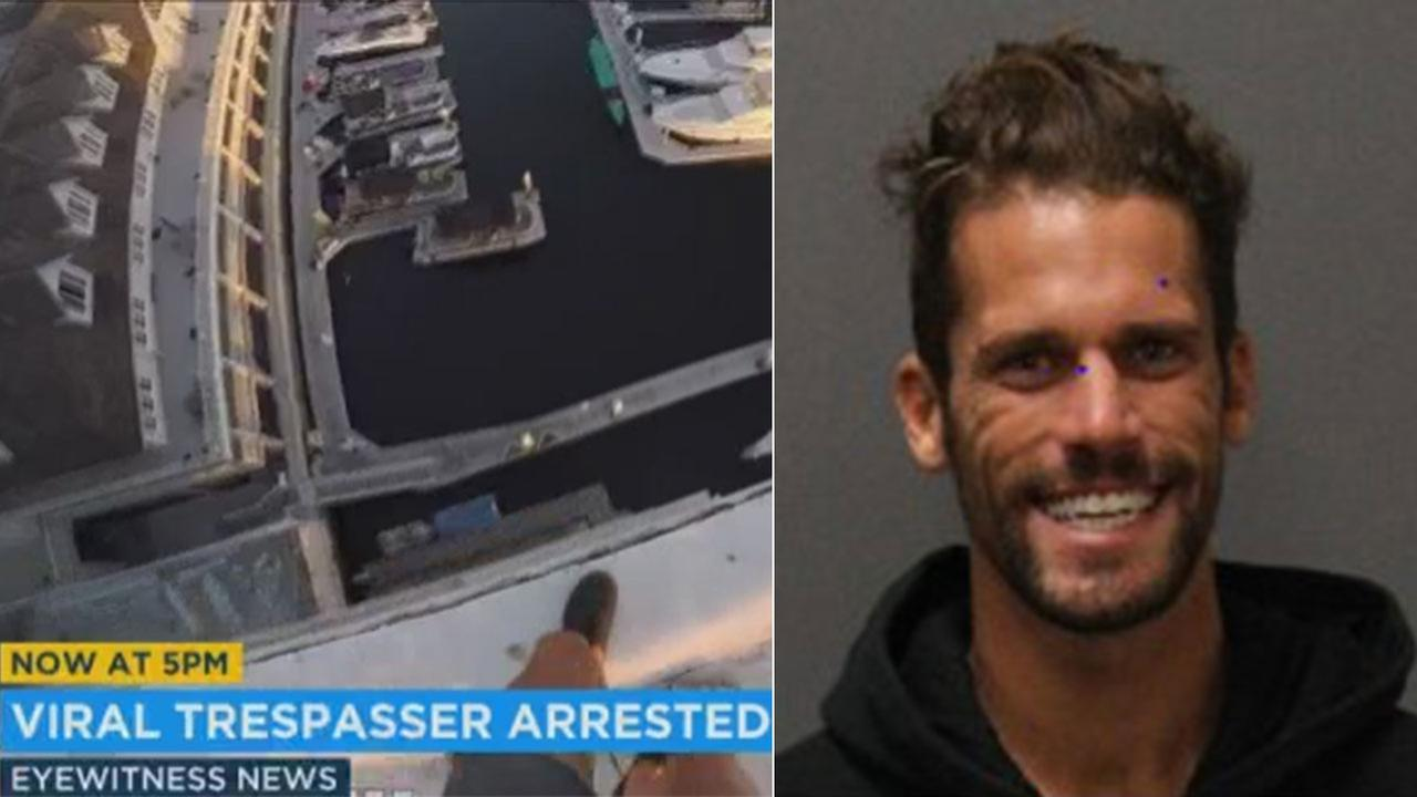 Police say Anthony Armer has been arrested for trespassing after he filmed a series of dangerous stunts jumping from Orange County rootops for YouTube.
